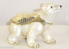 TREASURES YOUNG POLAR BEAR PEWTER BEJEWELED HINGED TRINKET / JEWELRY  BOX