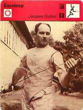 FICHE CARD: Jacques Guittet Epée Fencer Escrimeur France FENCING ESCRIME 1970s
