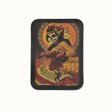 Biker Chopper Sugar Skull Dancer Girl Mexiko Echt Leder Aufnäher Leather Patch