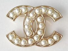 CHANEL 2017 2016 PEARL ICONIC CC GOLD LARGE DRESS JACKET PIN BROOCH NEW