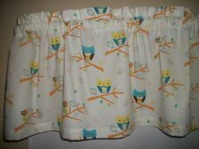 Owls Woodsy Kitchen Nursery bedroom fabric window curtain topper Valance