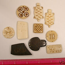 Natural Bone Carved Turtle Elephant Round Designs Loose Water Buffalo 10 pieces