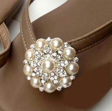 Pearl Round Flower Silver Tone Rhinestone Crystal Wedding Bridal Shoe Clips Pair