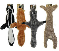 "4 Stuffing Free Furry Dog Puppy 20"" Toys w/Squeakers Raccoon, Rabbit, Fox, Skunk"