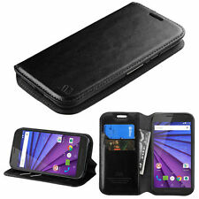 Motorola Moto X Play Luxury PU Leather Wallet Case ID Card Slot Magnetic Closure