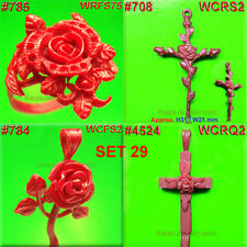 # SET 29  ROSE FLOWER CROSS RING SETTING 8 WAX  PATTERNS  CASTING JEWELRY MOLDS