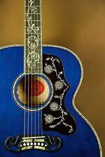 2016 Gibson SJ-200 Custom Quilt Vine Viper Blue Acoustic Guitar J-200