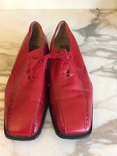 Giorgio Brutini Men's Red Leather Snakeskin Trim Lace up Shoes Size 12M