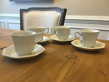 "Set of 4 Johnson Brothers ""Heritage"" White Coffee Cups and Saucers PRISTINE!"