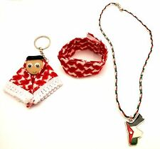 3 Souvenir Jordan Flag Map Red Shemagh Fiber Keychain Bracelet Necklace Fashion