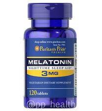 Puritan's Pride Melatonin 3 mg 120 Tablets Sleep Improve MadeinUSA Free Shipping