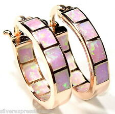 Pink Fire Opal Inlay Rose Gold over 925 Sterling Silver Hoop Earrings 5/8''-16mm