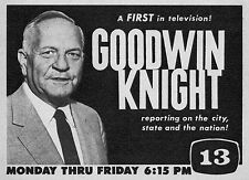 1959 TV AD~GOODWIN KNIGHT~CALIFORNIA GOVERNER REPORTS on the CITY & STATE