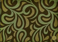 Momentum Textile Rococo Blue Funky modern Retro Swirl Design Upholstery Fabric