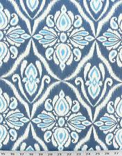 Drapery Upholstery Fabric 100% Cotton Duck Ikat Damask - Indigo