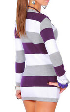 NEW WOMENS LADIES SEXY V NECK STRIPED TUNIC CASUAL TOP KNITTED MINI DRESS JUMPER