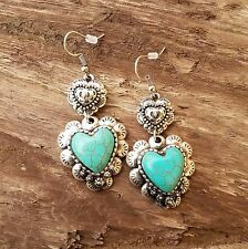 Cowgirl Gypsy HEART CONCHO EARRINGS Faux Turquoise Southwestern silver tone