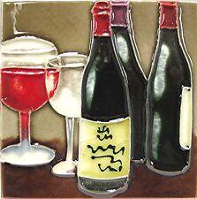 Coaster Trivet Wall Accent Wine Spirits Glasses Bottles Desk Top Art Tile 4x4