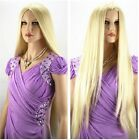 Sexy Fashion Cosplay Wigs Women Long Blonde Straight Wig Heat Resistant Full Wig