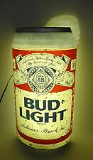 "Large Bud Light Beer Can Sign Lighted 32"" Tall Vintage Budweiser Bar Cave 1988"
