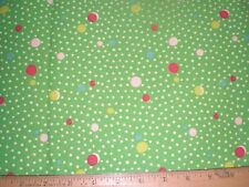 Cotton Fabric White Mini Dots and Bigger Red and Yellow on Green.Home Dec