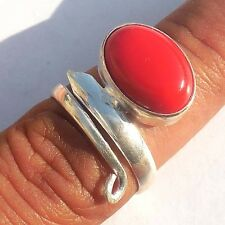 FANTASTIC JEWELRY RED AGATE GEMSTONE 925 STERLING SILVER! OVERLAY RING