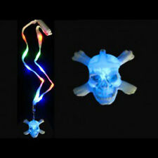 LIGHT UP SKULL N CROSSBONES HALLOWEEN NECKLACE RAVING FUN DJ PARTY COOL~