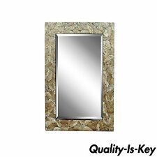 Contemporary 48 x 32 Crackled Mother of Pearl Mosaic Inlay Decorator Wall Mirror