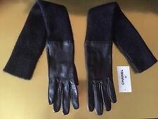 Rare Chanel Long Cashmere/Leather CC Gloves NWT