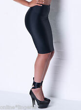 SIZE 12-14 BLACK SILKY NYLON LYCRA PULL ON PENCIL WIGGLE SKIRT OFFICE SEXY P99