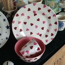 Emma Bridgewater pink Hearts Melamine set, Plate, Bowl, Mug