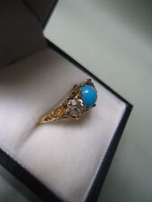 ANTIQUE 3 STONE 18K GOLD OLD EUROPEAN CUT .80ct DIAMOND TURQUOISE RING FABULOUS
