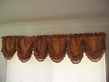 Terracotta Cotton Blend Balloon Curtain Valance with Tassle Fringing