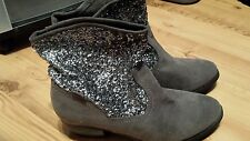 Sugar Grey Suede & Silver Sequins Faux Fur Pull on Ankle Boots Cow Girl Heel