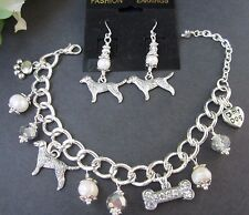 Lab / Golden Retriever Charm Bracelet & Earrings w/ Fwater Pearls & Crystals