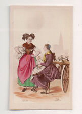 Vintage CDV Handpainted ladies of Alsace FranceTraditional National Costume