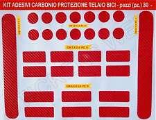Kit di 30 adesivi stickers protezione telaio bici in CARBONIO _Rosso_cod.0503