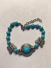 "NEW 7-7.5"" TIBEAN SILVER AND TURQUOISE BRACELET WITH OWLS-B222"