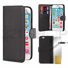 Apple Iphone 6 4.7 leather flip cover wallet book black case Screen guard stylus
