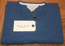 RAG  & BONE MENS DARK BLUE COTTON BLEND CREW NECK STANDARD T-SHIRT SIZE SMALL
