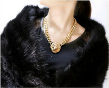 Fashion Star Lion Head Pendant Gold Flat Chain Statement Choker Chunky Necklace