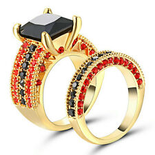 Black Sapphire Set CZ Wedding Band Promise Rings 10KT Yellow Gold Filled Size 6