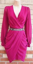 RIVER ISLAND MAGENTA BEADED V NECK GRECIAN DRAPE TULIP PARTY EVENING DRESS 10 S