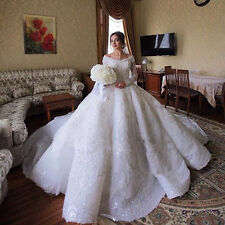 New A-Line White/Ivory Wedding Dress Luxury Bridal Gown Custom Plus Size 2-28