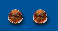 Sterling Silver 12mm Real Amber Round Earrings