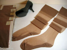 "6 PAIRS 1950 FLAT KNIT F/F COTTON SOLES RHT NYLON STOCKINGS  10 X 33"" LONG"