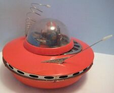 Antique Tin Space Toy Battery Op Flying Saucer w Astronaut KO Japan 1950s as is