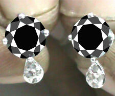 4.52+ ct AAA Black Moissanite & Natural Raw White Diamond .925 Silver Earrings