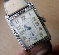 Vintage Enameled Bulova President Madison Wrist Watch Don Juan Cuff 14k wgf