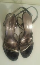 PRE-LOVED NINE WEST SANDALS, SIZE 8.5M, BLUE/ SILVER, STRAPPY